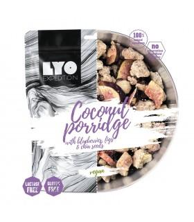 Gachas de coco con arándanos, higos y semillas de chía liofilizada