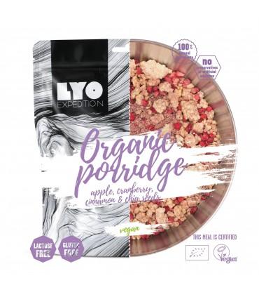 Gachas orgánicas con arándano, manzana y canela liofilizado