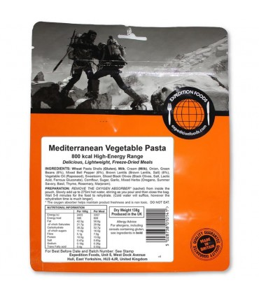 Pasta con verduras mediterraneas liofilizada 800 kCal
