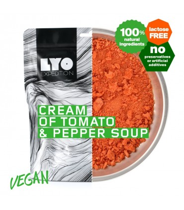 Crema de tomate y pimientón liofilizada