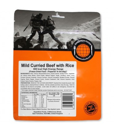 Ternera al curry suave con arroz liofilizada