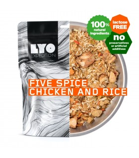Pollo con arroz en salsa de cinco especias liofilizado
